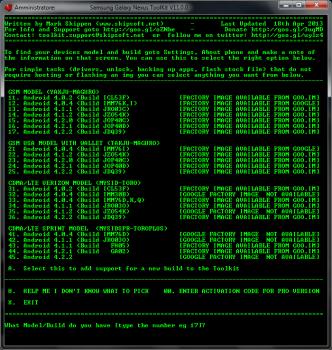 Scelta del modello da Toolkit per Root e sblocco bootloader Galaxy Nexus