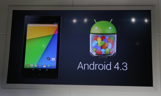 Google's Android 4.3 operating system, is announced to be installed in the new Nexus 7 tablet, during a Google event at Dogpatch Studio in San Francisco