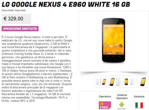 unboxing del nexus 4 bianco
