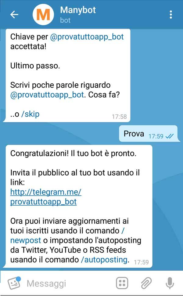 Come creare un bot su Telegram - Inserimento descrizione