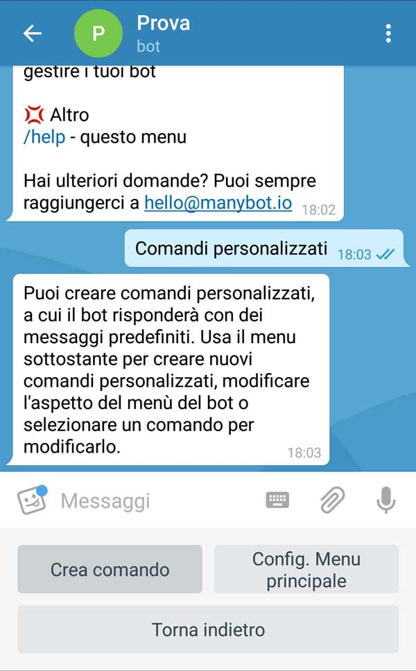 Come creare un bot su Telegram - Creazione comandi