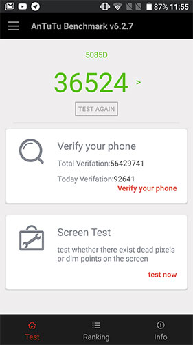 Recensione Alcatel A5 LED - AnTuTu Benchmark